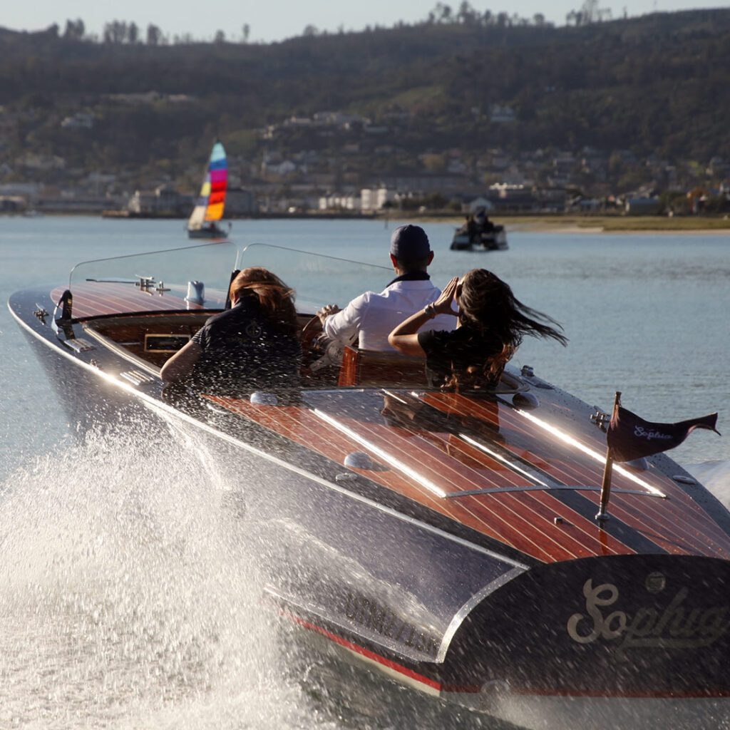 Picture of the Sophia speedboat that takes people on trips in the Knysna Lagoon