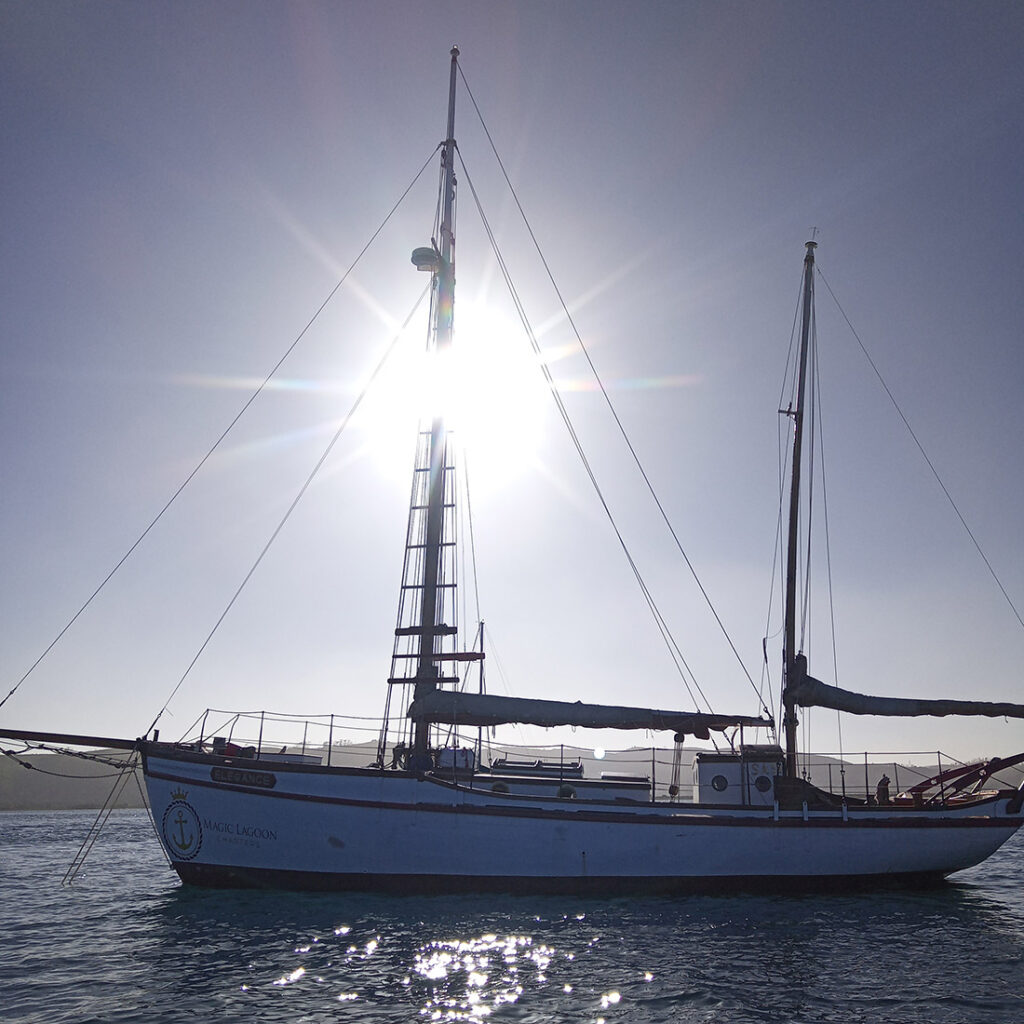 Picture of the Elegance ship that takes people on Knysna Lagoon Sunset Cruises